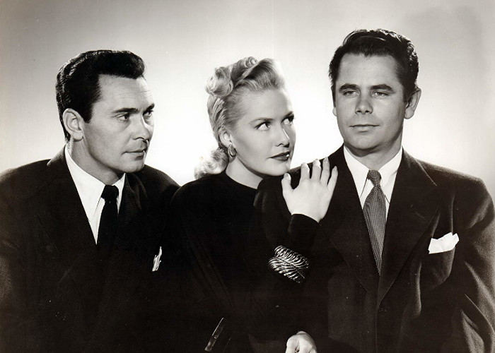 Glenn Ford, Janis Carter, and Barry Sullivan in Framed (1947)