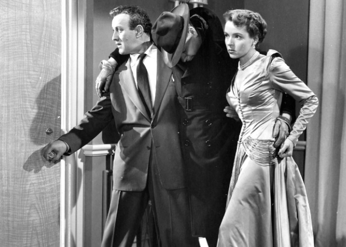 Lee J. Cobb, Harlan Warde, and Jane Wyatt in The Man Who Cheated Himself (1950)