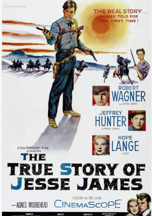Jeffrey Hunter, Agnes Moorehead, Robert Wagner, and Hope Lange in The True Story of Jesse James (1957)