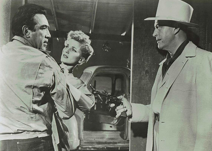 Anthony Quinn and Ray Milland in The River's Edge (1957)