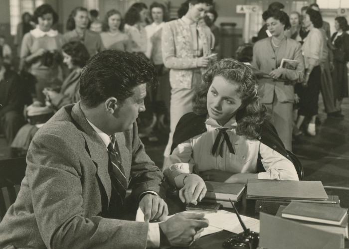 Jeanne Crain and Dale Robertson in Take Care of My Little Girl (1951)