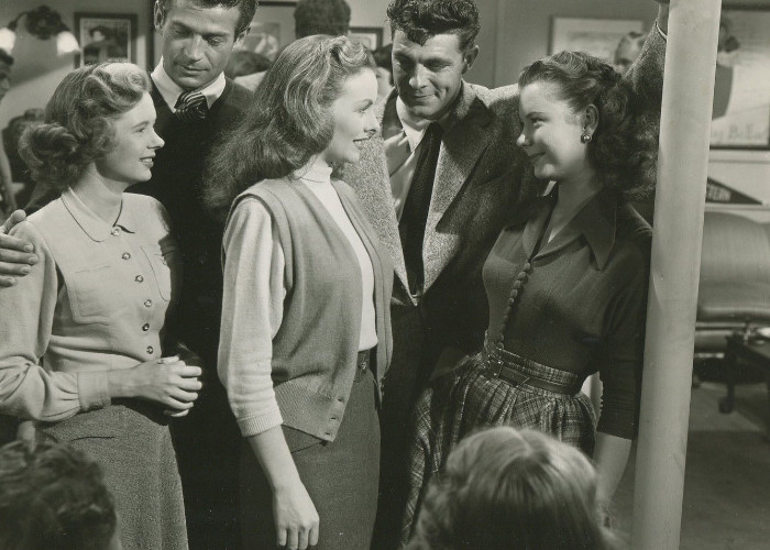 Jeanne Crain, Carol Brannon, Beverly Dennis, George Nader, and Dale Robertson in Take Care of My Little Girl (1951)