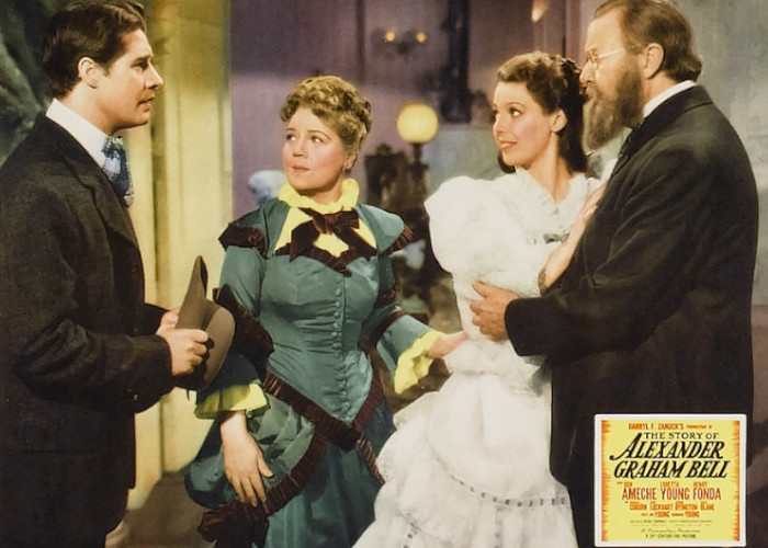 Don Ameche, Spring Byington, Charles Coburn, and Loretta Young in The Story of Alexander Graham Bell (1939)