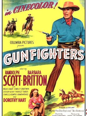 Randolph Scott and Barbara Britton in Gunfighters (1947)
