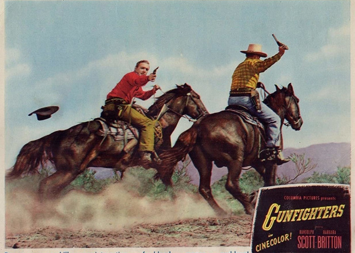 Bruce Cabot and Forrest Tucker in Gunfighters (1947)
