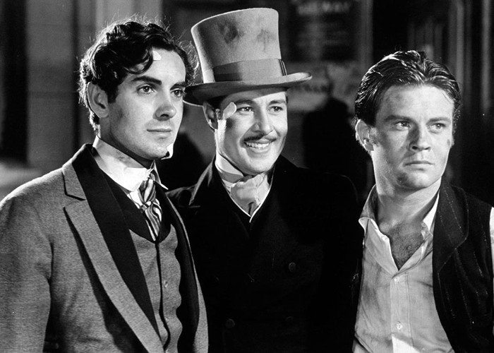 Tyrone Power, Don Ameche, and Tom Brown in In Old Chicago (1938)