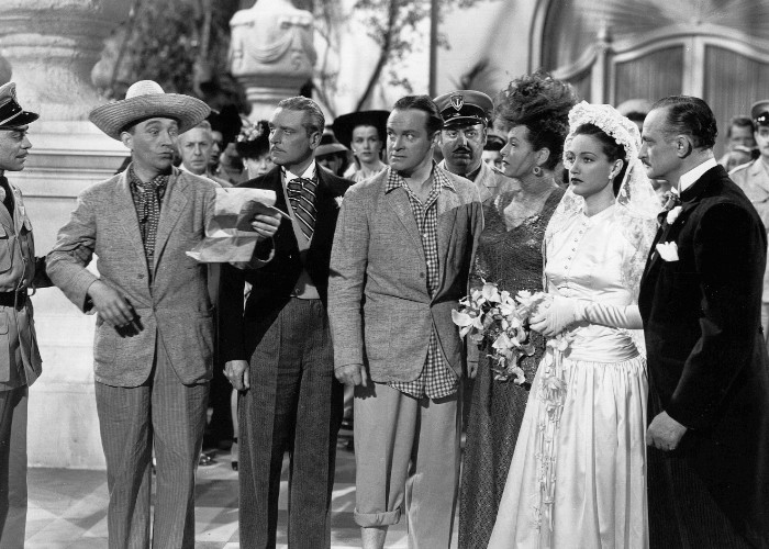 Bing Crosby, Bob Hope, Dorothy Lamour, George Meeker, Nestor Paiva, Gale Sondergaard, and Joseph Vitale in Road to Rio (1947)
