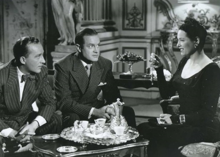 Bing Crosby, Bob Hope, and Gale Sondergaard in Road to Rio (1947)