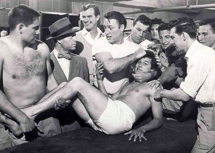 Tony Curtis, Joe Brooks, Jimmy Hunt, Richard Long, Gregg Palmer, Barney Phillips, and Stuart Whitman in The All American (1953)