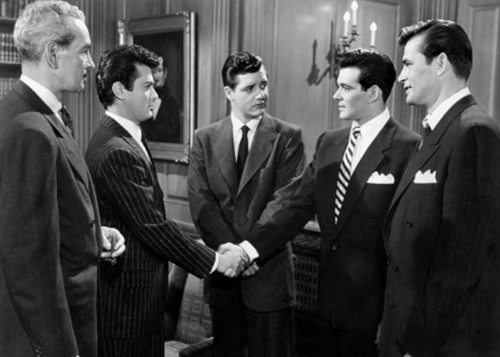 Tony Curtis, Richard Long, Donald Randolph, Stuart Whitman, and Palmer Lee in The All American (1953)