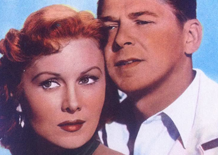 Ronald Reagan and Rhonda Fleming in Tropic Zone (1953)