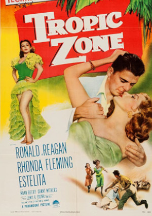 Ronald Reagan, Rhonda Fleming, and Estelita Rodriguez in Tropic Zone (1953)