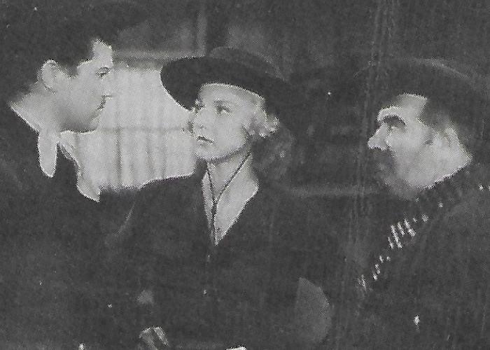Edward Brophy, Alan Curtis, and Ann Savage in Renegade Girl (1946)
