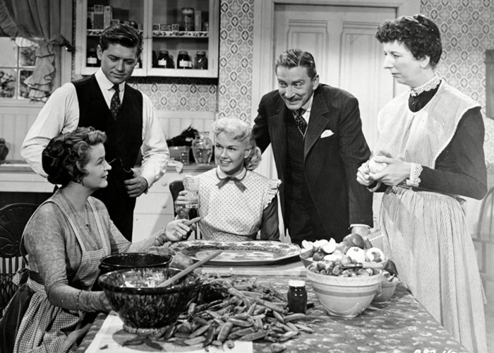 Doris Day, Leon Ames, Rosemary DeCamp, Gordon MacRae, and Mary Wickes in By the Light of the Silvery Moon (1953)