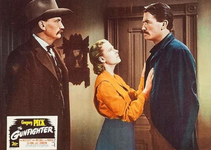 Gregory Peck, Millard Mitchell, and Helen Westcott in The Gunfighter (1950)