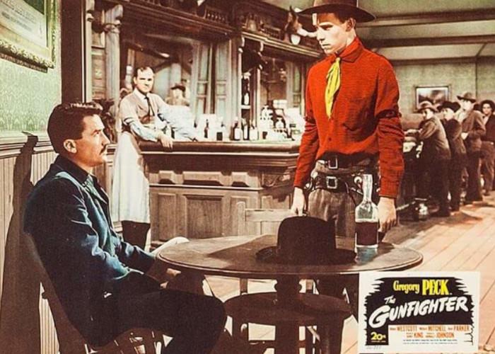 Gregory Peck, Karl Malden, and Skip Homeier in The Gunfighter (1950)