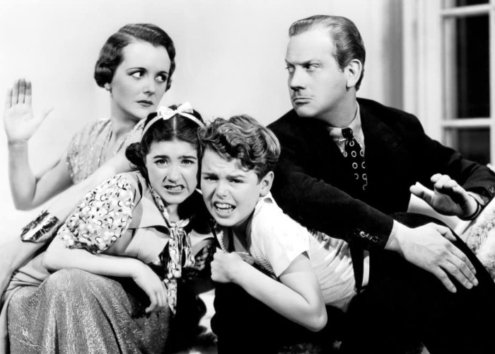 Mary Astor, Melvyn Douglas, Edith Fellows, and Jackie Moran in And So They Were Married (1936)
