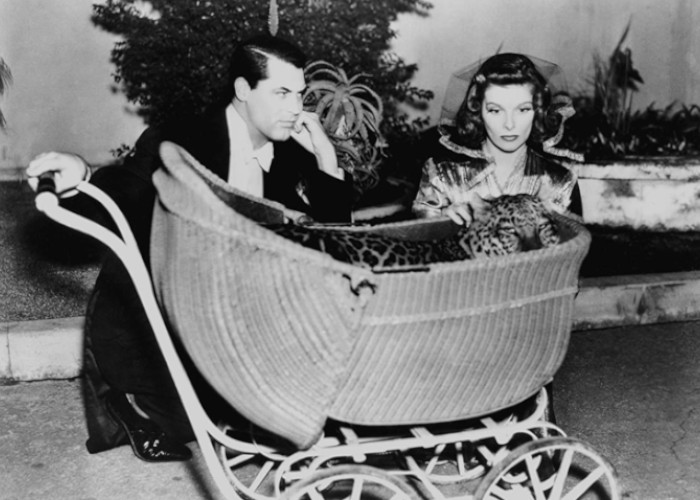 Cary Grant, Katharine Hepburn, and Nissa the Leopard in Bringing Up Baby (1938)