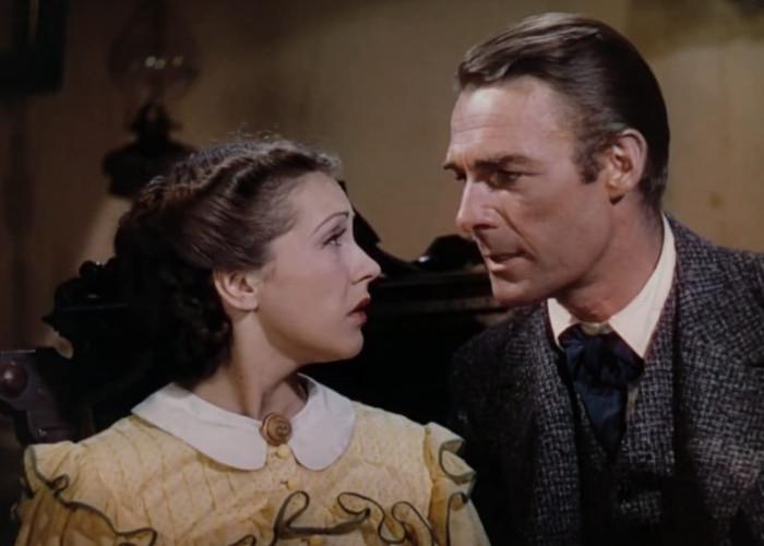 Randolph Scott and Nancy Kelly in Jesse James (1939)