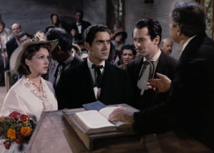 Henry Fonda, Tyrone Power, and Nancy Kelly in Jesse James (1939)