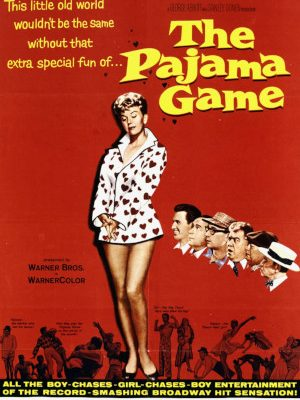 Doris Day, Ralph W. Chambers, Ralph Dunn, Eddie Foy Jr., Owen Martin, John Raitt, and Jack Straw in The Pajama Game (1957)