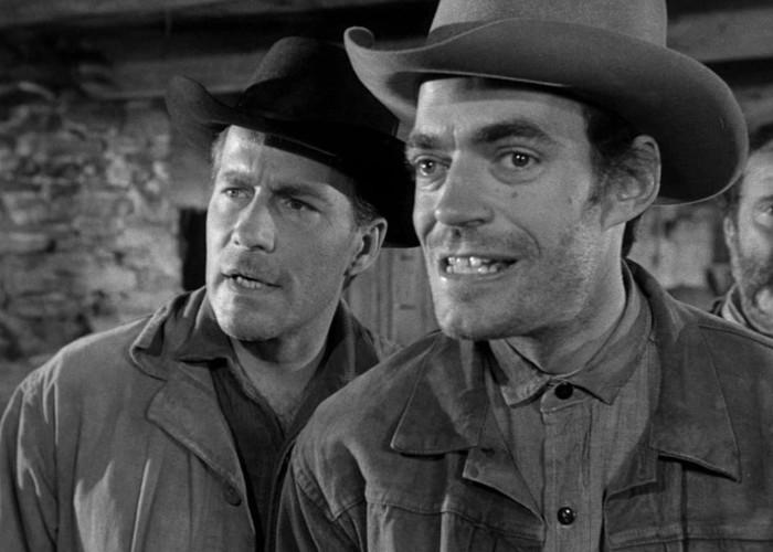 Jack Elam and Hugh Marlowe in Rawhide (1951)