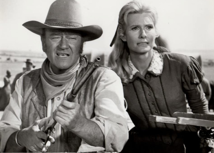 John Wayne and Marian McCargo in The Undefeated (1969)