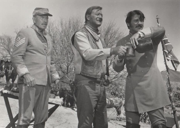 John Wayne, Rock Hudson, and Bruce Cabot in The Undefeated (1969)