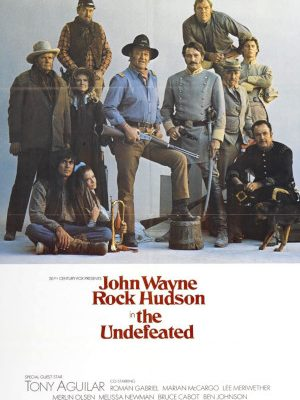John Wayne, Rock Hudson, Jan-Michael Vincent, Antonio Aguilar, Bruce Cabot, Roman Gabriel, Big John Hamilton, Ben Johnson, Lee Meriwether, Melissa Newman, and Merlin Olsen in The Undefeated (1969)