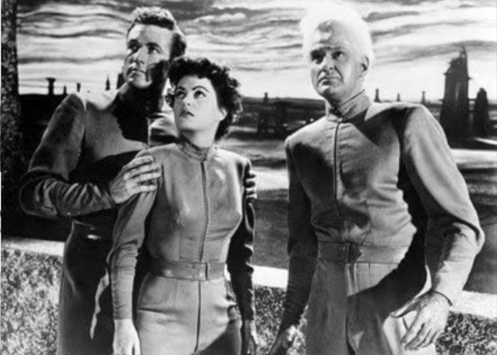 Faith Domergue, Jeff Morrow, and Rex Reason in This Island Earth (1955)