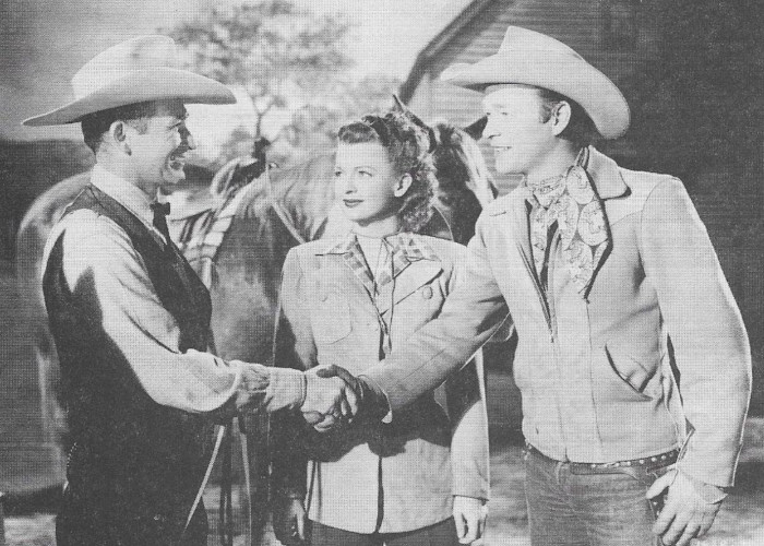 Roy Rogers, Dale Evans, Montie Montana, and Trigger in Down Dakota Way (1949)