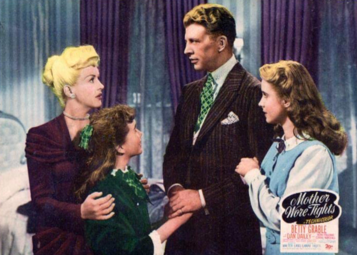 Betty Grable, Dan Dailey, Mona Freeman, and Connie Marshall in Mother Wore Tights (1947)