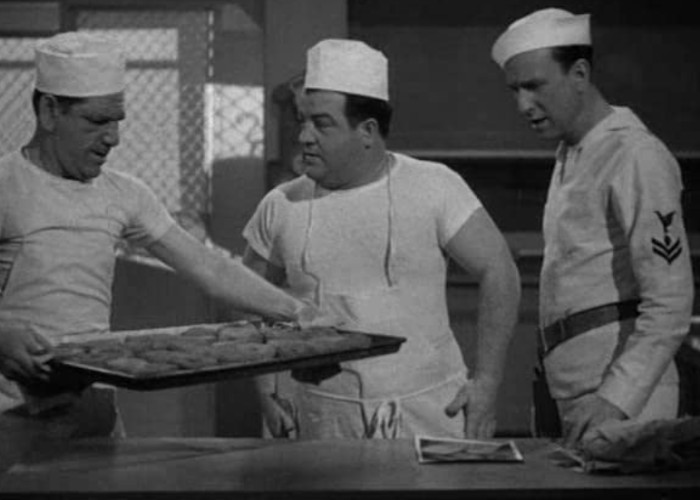 Bud Abbott, Lou Costello, and Shemp Howard in Buck Privates (1941)